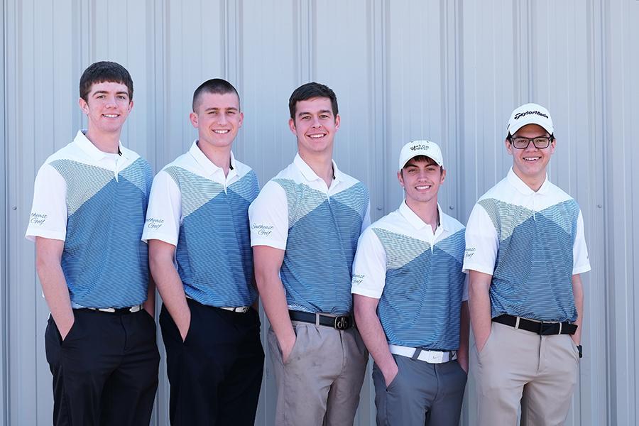 The 2014-15 SCC men's golf team, from left: Chad Manes, Clayton Peterson, Ronan Higgins, Leighton Thomas, and Lane Gascoigne.