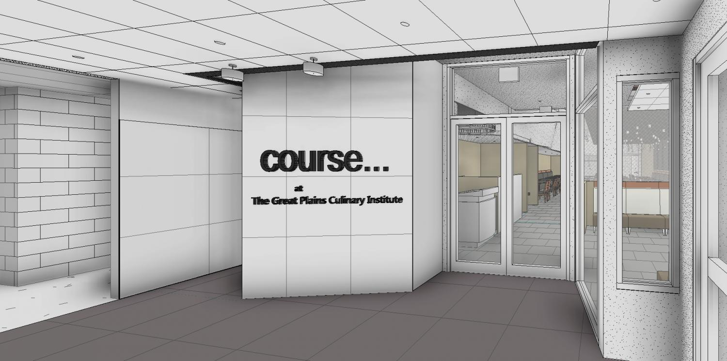 The new restaurant, course ..., will be accessed through a new entrance south of the old main entrance to the Lincoln campus.