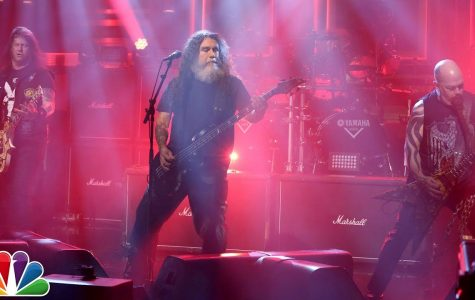 Tom Araya, middle, and company (aka Slayer) thrash away on The Tonight Show with Jimmy Fallon.