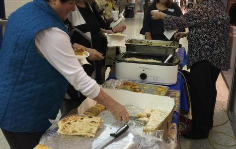 On the fourth day of Global Education Week, many different dishes from around the world were shared and enjoyed, above.