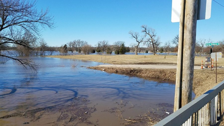 The Big Blue River, above seen looking southwest from West Court Street (U.S. Highway 136), has closed one bridge in Beatrice and is expected to close another.
